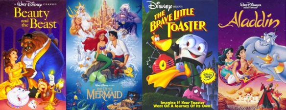 Disney's Beauty & The Beast, The Little Mermaid, The Brave Little Toaster, and Aladdin