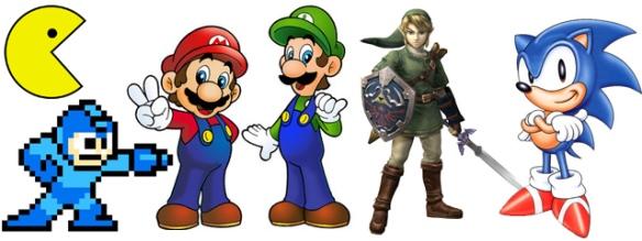 Video games Pacman, Mega Man, Super Mario Bros, Zelda, Sonic
