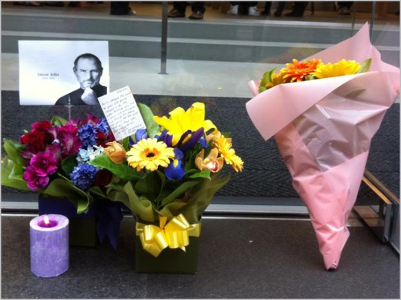 Steve Jobs memorial at Apple store in Sydney, Australia.
