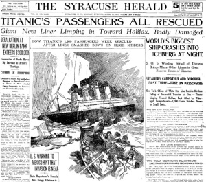 Titanic's Passengers All Rescued -- The Syracuse Herald
