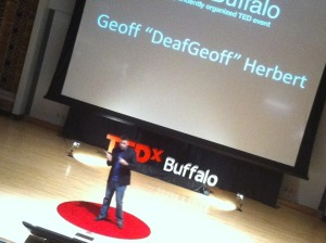 Geoff 'DeafGeoff' Herbert talks at TEDxBuffalo on Oct. 9, 2012