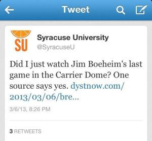Syracuse University's official Twitter account posted a link to a blog rumor about Jim Boeheim's possible retirement. The tweet has since been deleted.